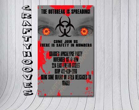 Zombie Apocalypse Grey Outbreak 28 Days Party Invitations U Print