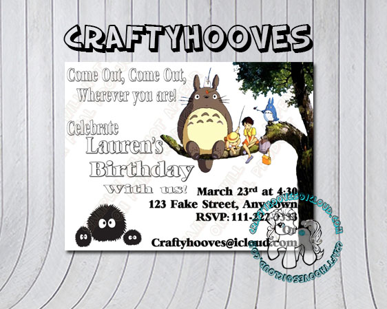 Totoro Birthday Invitations U Print Custom Party Celebration