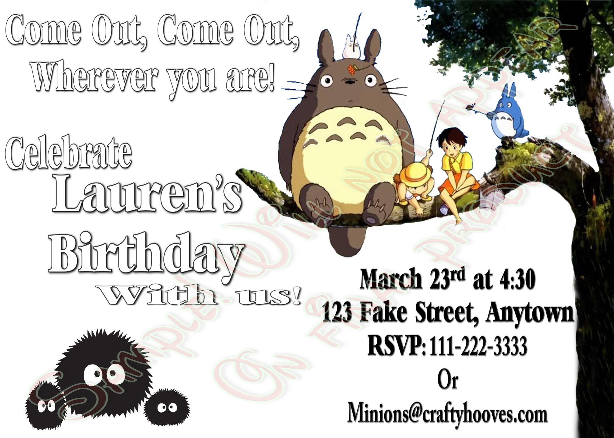 Totoro Birthday Invitations UPrint Custom Party Celebration