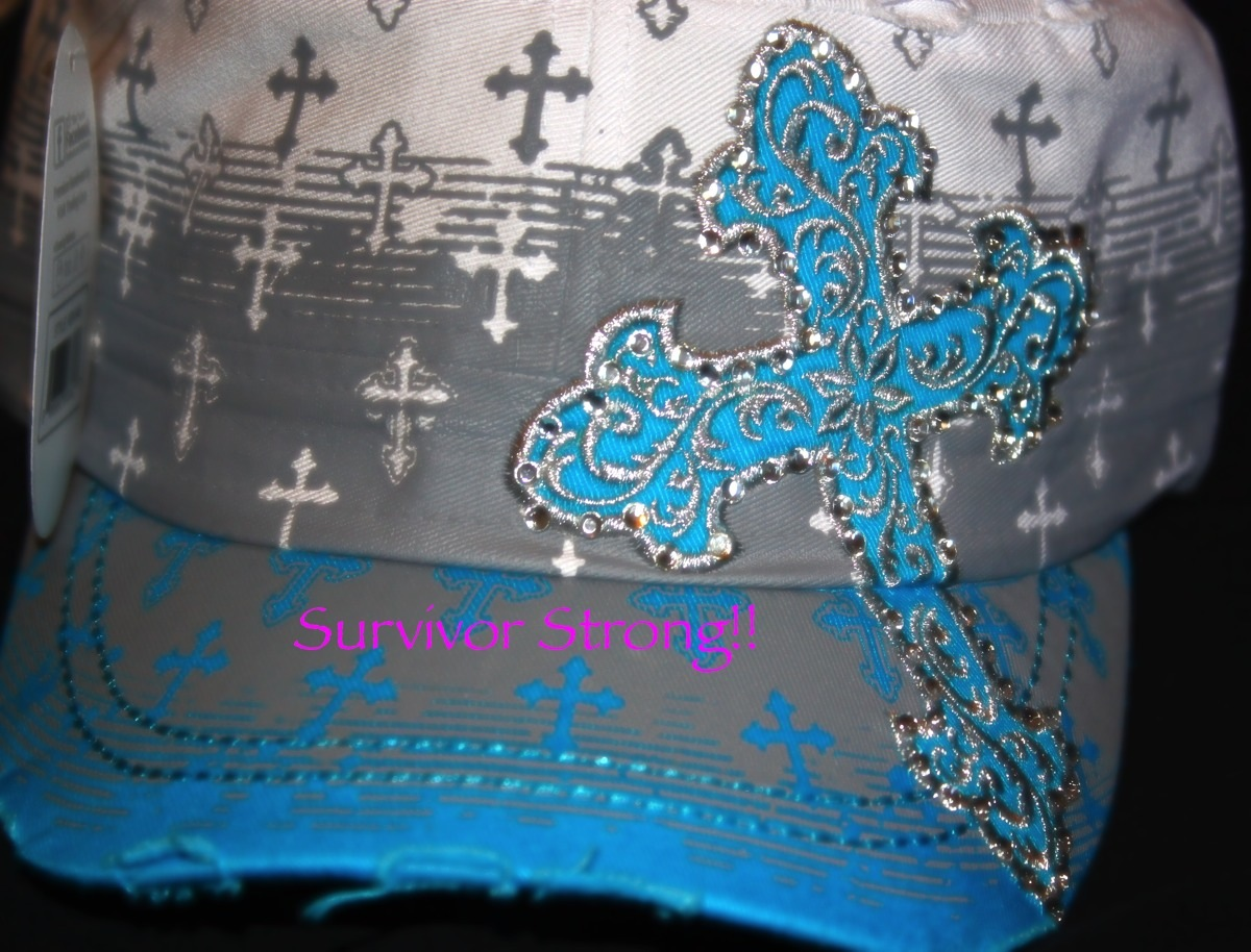 b8b393f0c8f ... Turquoise and white cross cadet hat with rhinestone inlay - Thumbnail 4