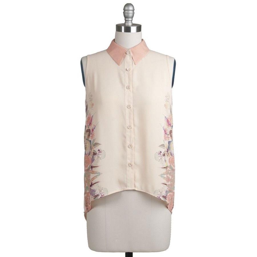 Light Peach And Coral Sleeveless Collared Desert Floral Shirt High