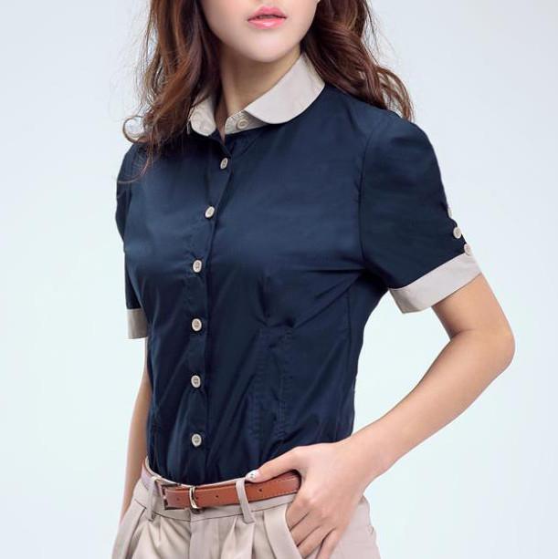 2b5b30ed XXS XS S M navy blue white pan collar blouse short puff sleeve button down  shirt