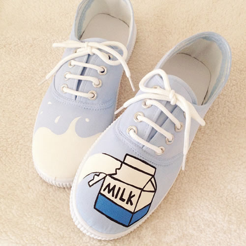 Harajuku Milk Cartons Painted Shoes On Storenvy