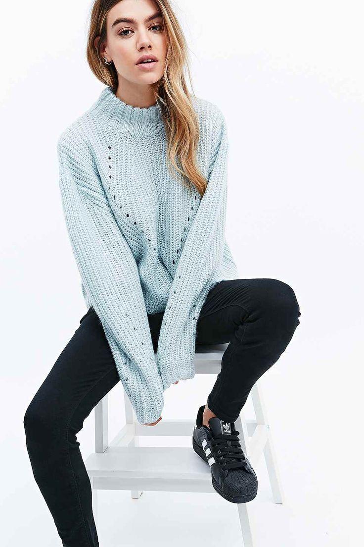 Unif Lisa Turtleneck Crop Sweater In Baby Blue Discoqueen At Storenvy