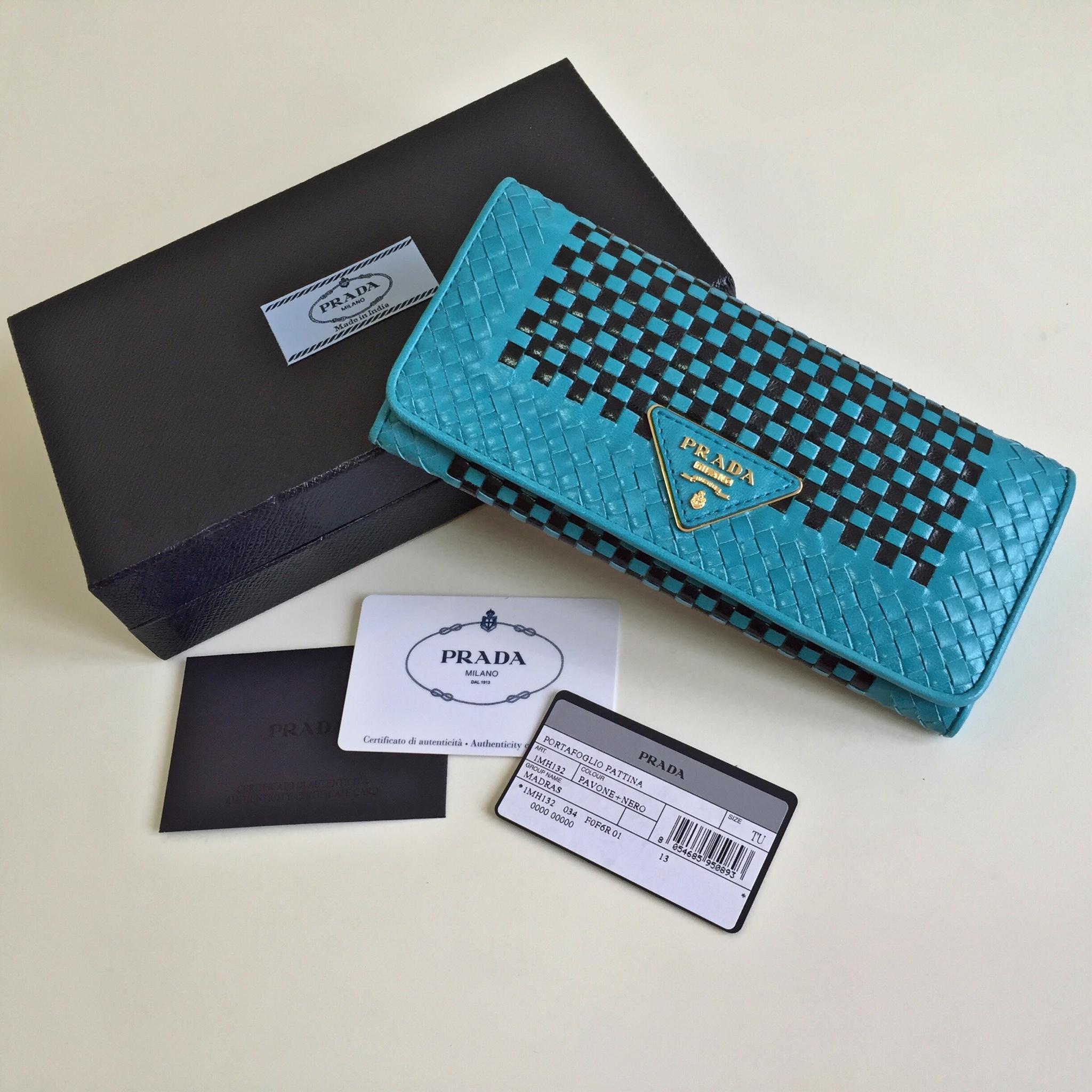 282dcbb3c0b1 PRADA Madras Pavone + Nero Continental Wallet on Storenvy