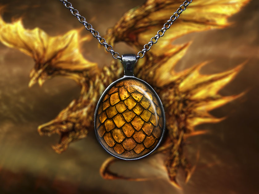 Gold Dragon Egg Pendant Necklace, The Hobbit Jewelry