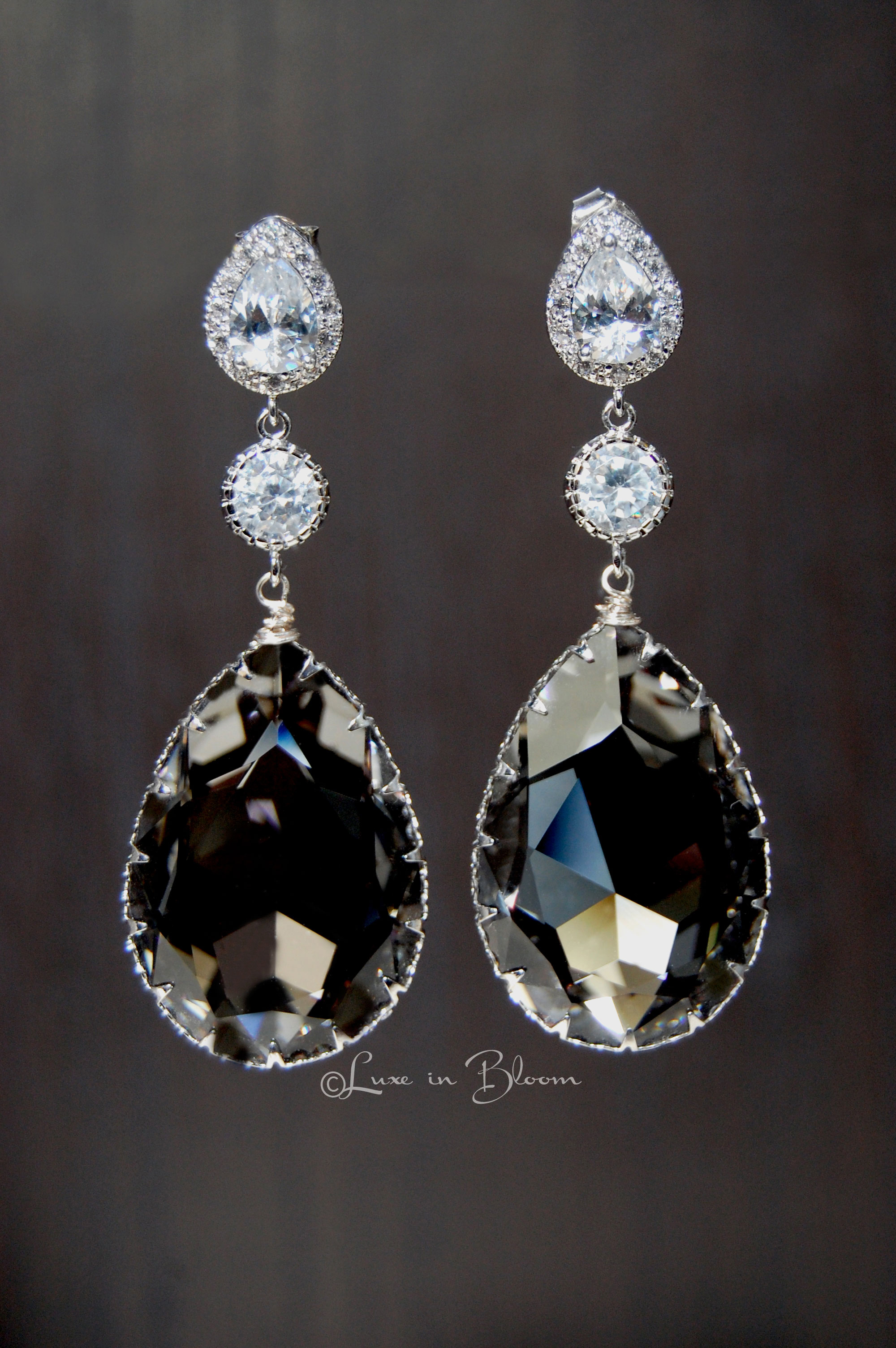 e2648eb37e1c03 Wedding Earrings In Black Diamond Swarovski Crystal - Style   E153 ...