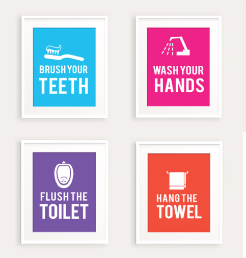 Kids Bathroom Rules Art Print Set 0113 printable pdf ...