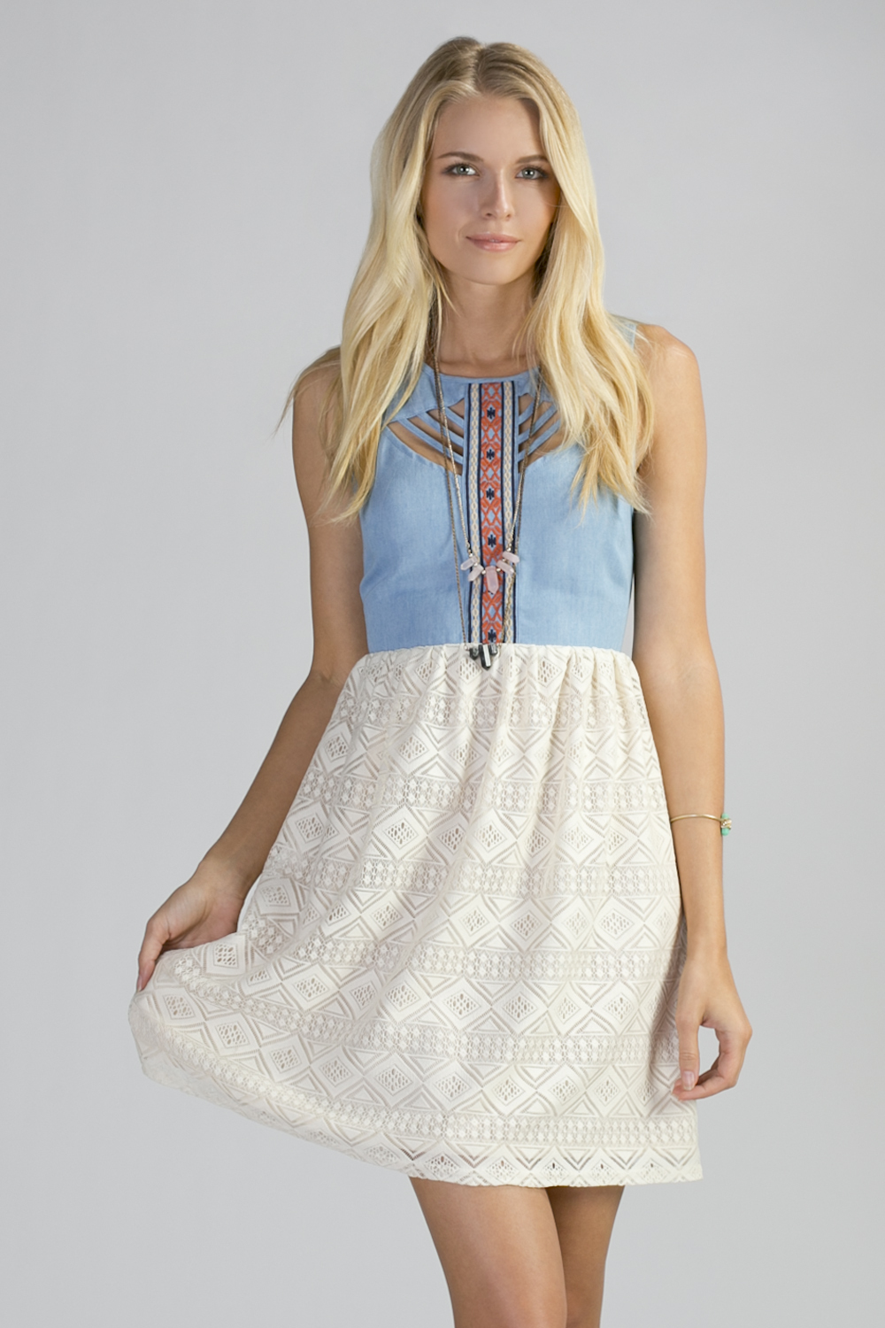 c3184be54 Denim top Ivory Lace Skirt Dress   Belle of the Boulevard   Online ...