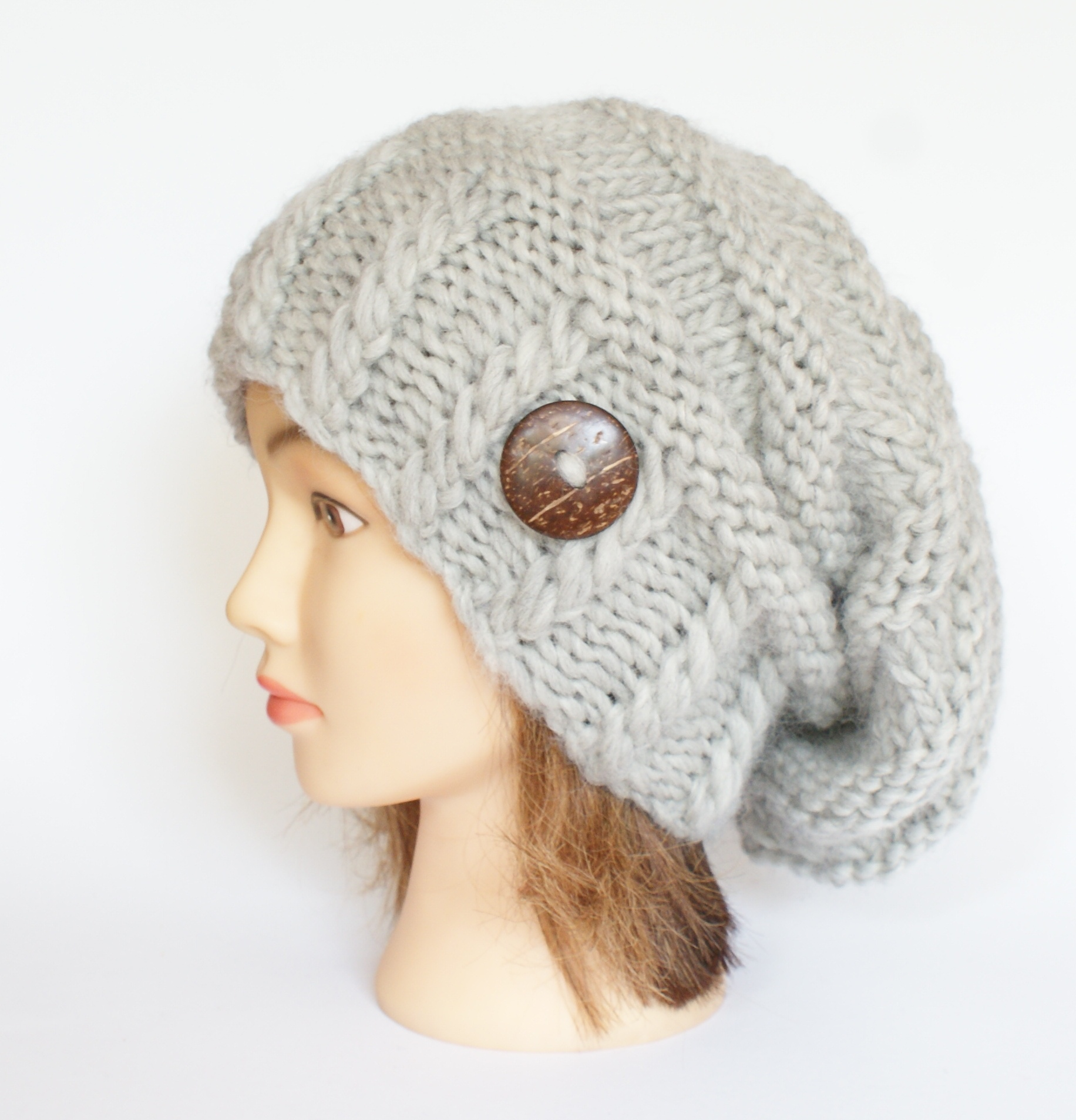 91ee8113b Irish handknit light gray slouchy beanie hat for women - womens slouch hat  with button - gray wool hat - warm winter grey hat
