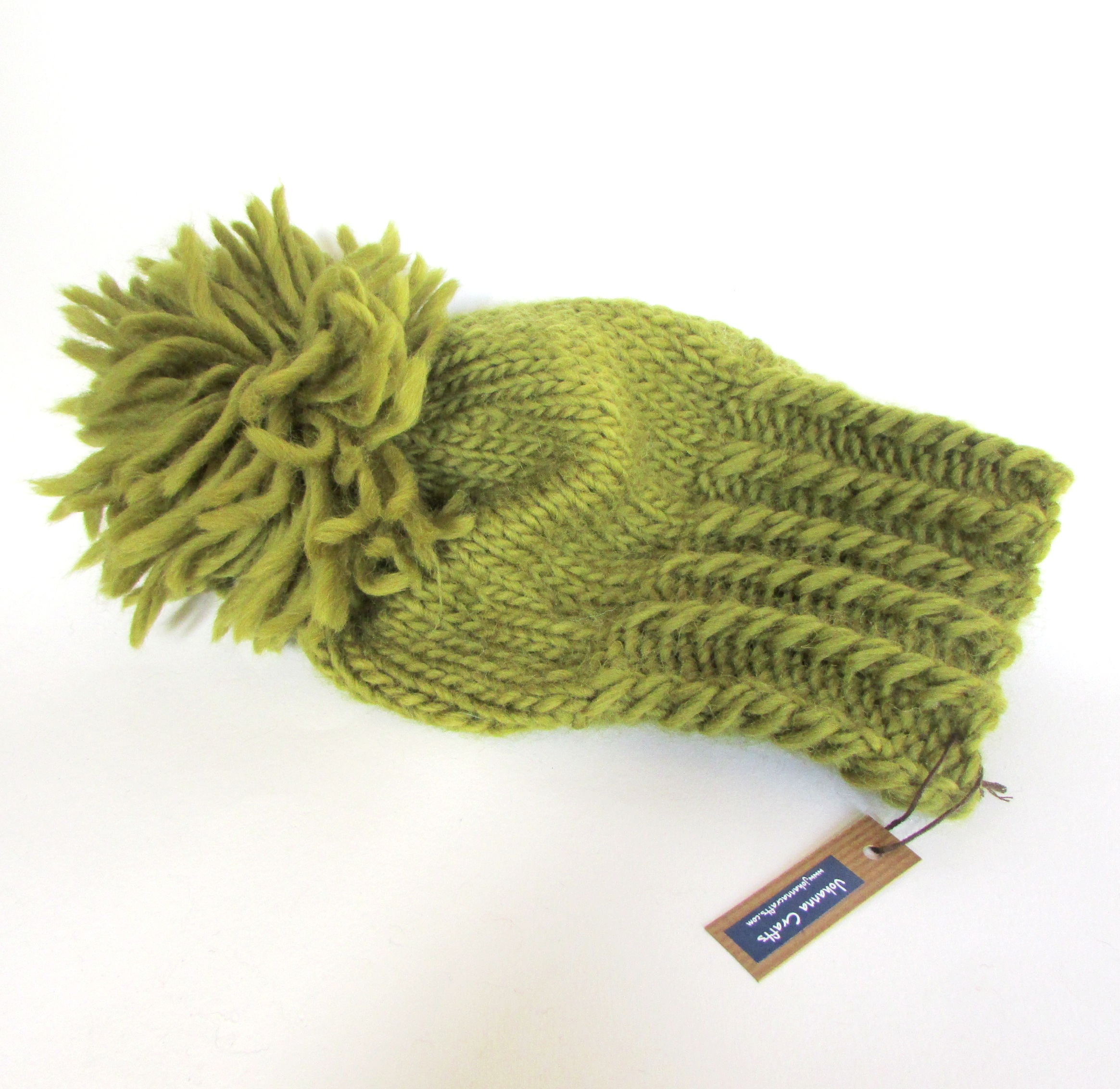 Irish hand knit olive green hat with large pom pom - chunky knit fun ... 04877d32615e