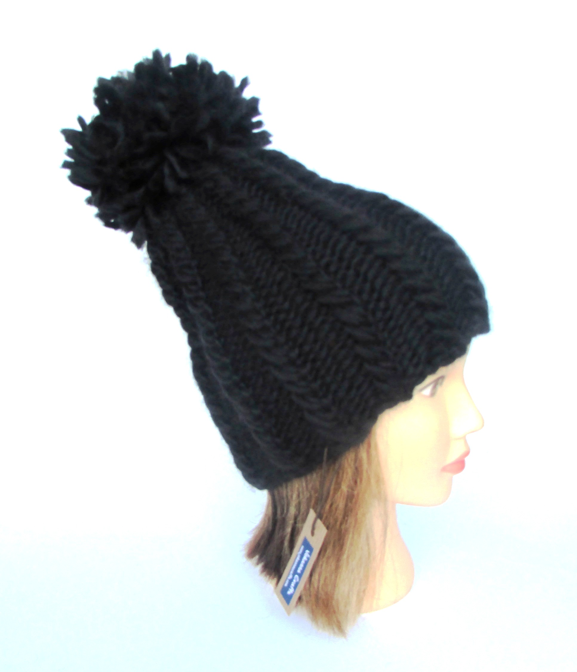 Tall hat with pompom - black hat for women - handknit hat - chunky ... 5797b3c014a5