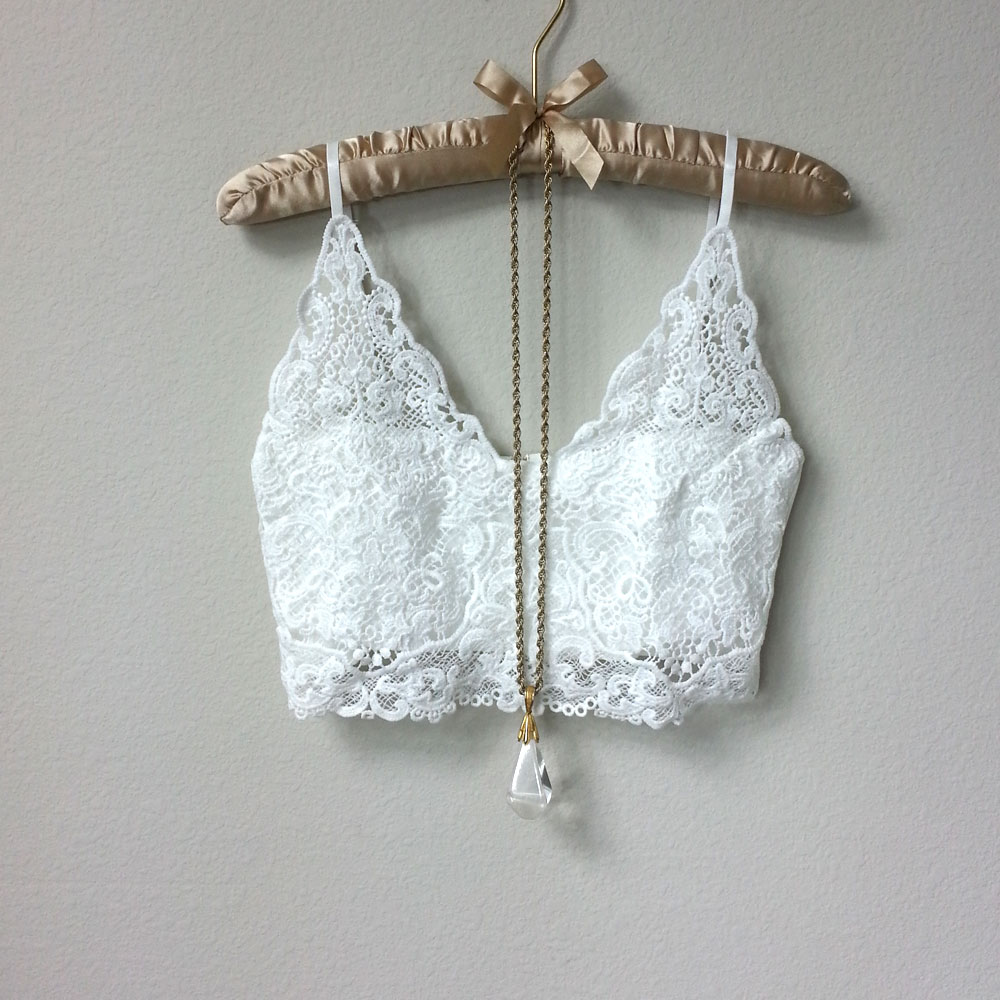 22fe66d93 White Lace Bralette Crop Top