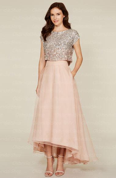 2 Piece Bridesmaid Dresses Sequin Bridesmaid Dresses Organza