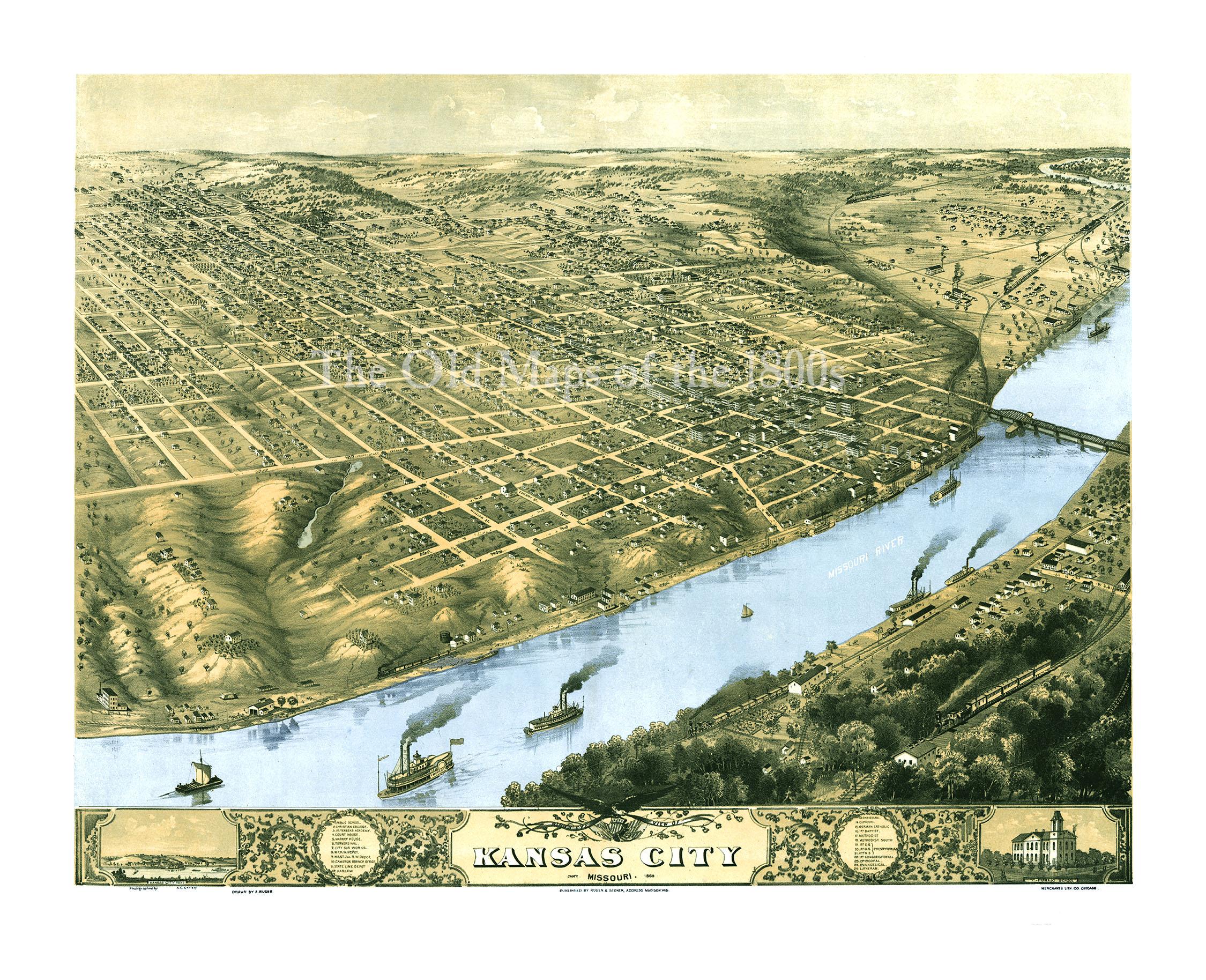 Old Kansas Map.Kansas City Missouri In 1869 Bird S Eye View Map Aerial Map