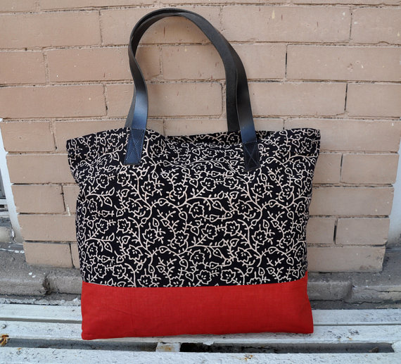 3b66615de4 Canvas Tote Bag with leather straps in Black floral print   Red bottom