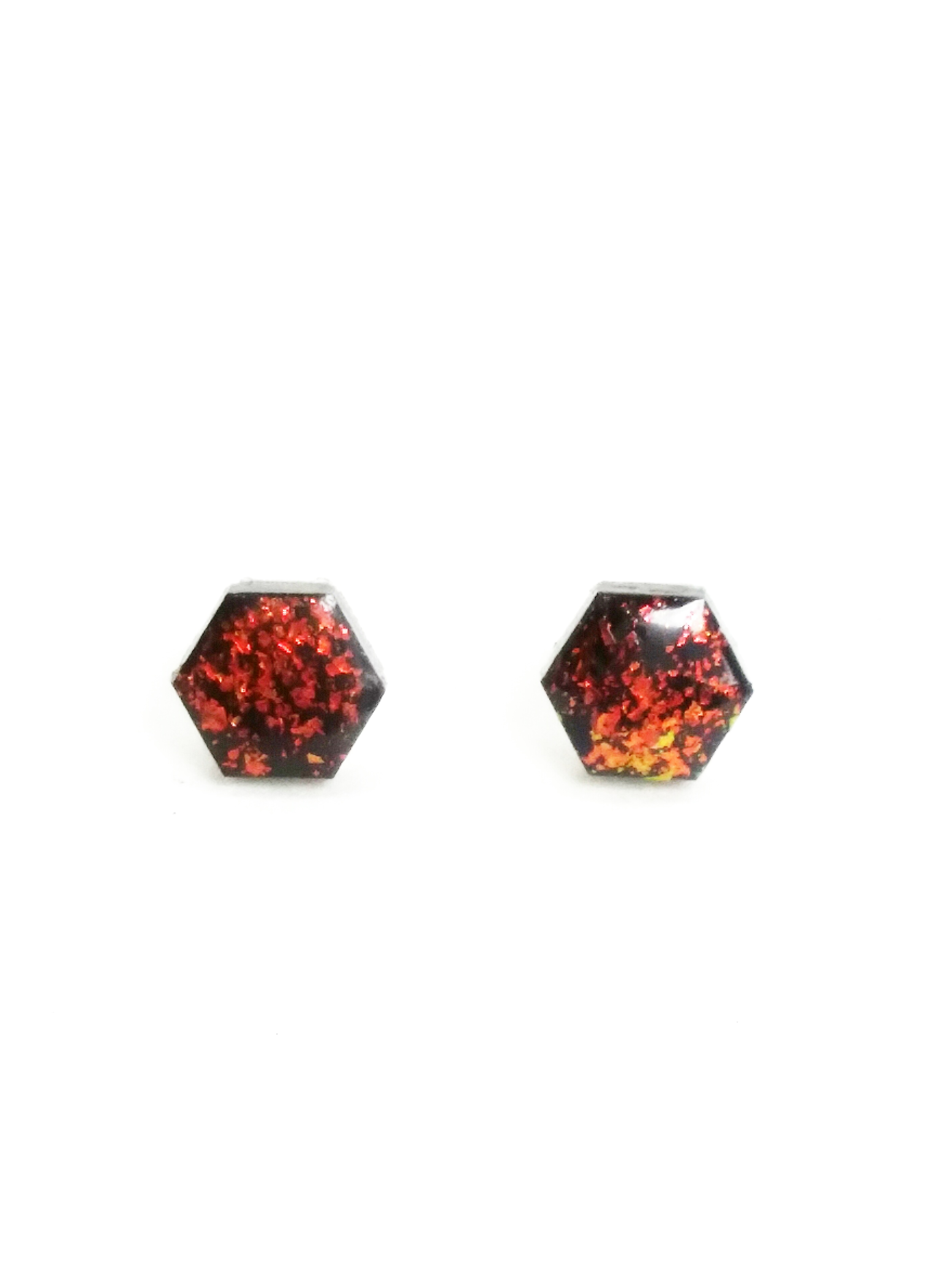 65884c1da Fire Opal Hex Earrings Faux Opalescent Black Hexagon Post Stud Earrings