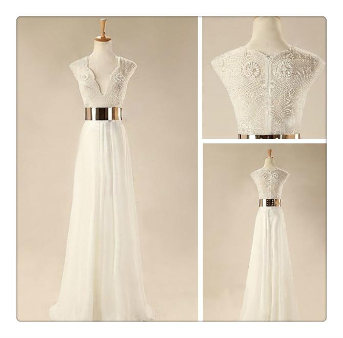 Gorgeous White Floor Length Prom Dresses, Wedding Dresses, Dresses ...