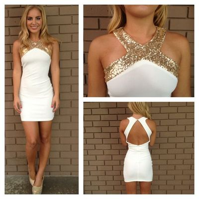 Gold Sequin prom dress,Short prom dress,Open Back Dress,White prom ...