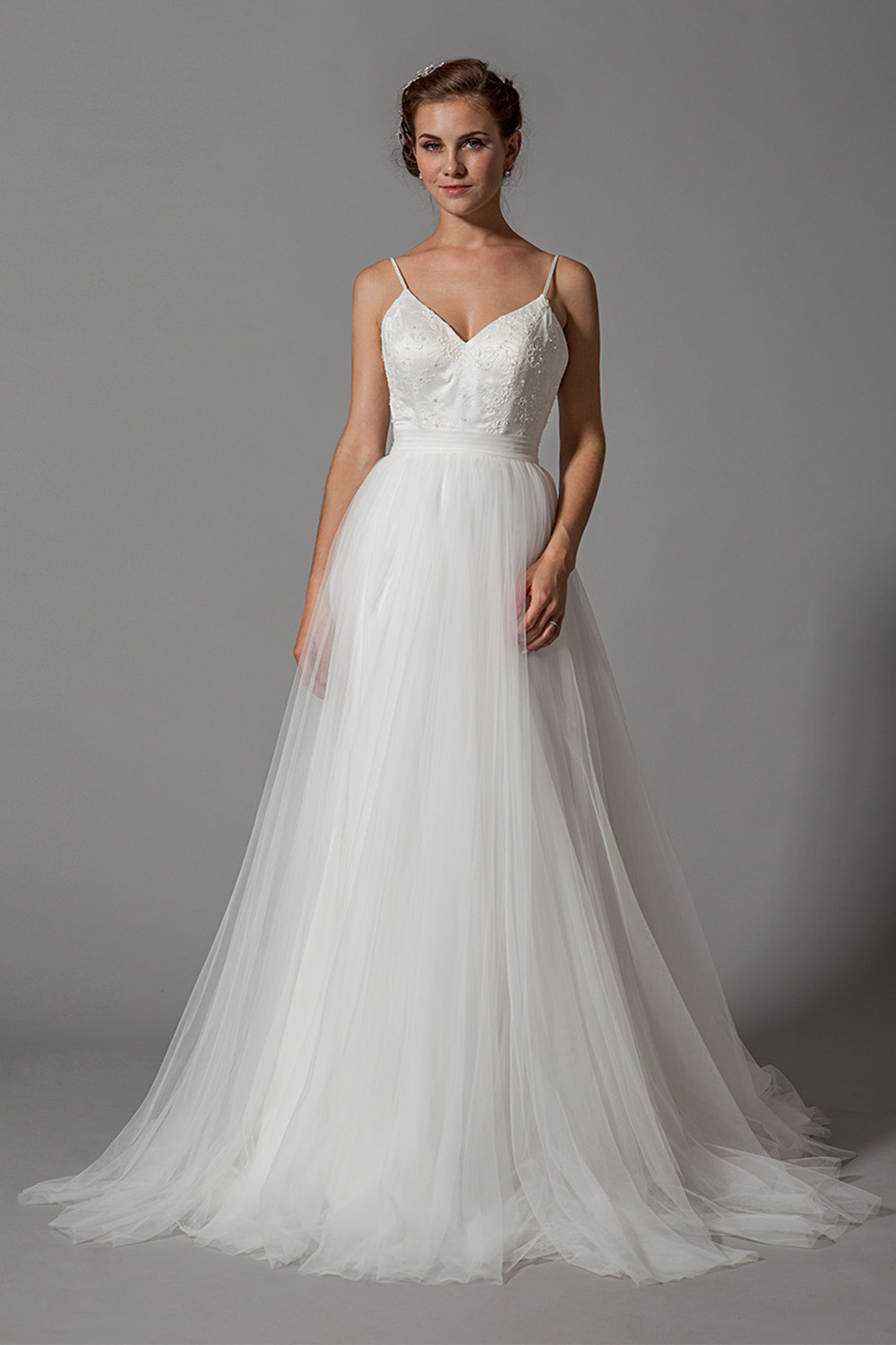 Plus Size A-line Soft Tulle Wedding Dress W/Spaghetti straps from Curvy  Brides