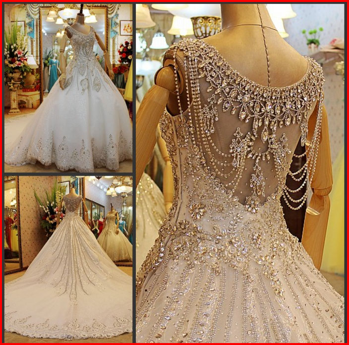 Most Beautiful Ball Gown Wedding Dresses: YZ New Arrival Ball Gown V-neck Short Sleeve Luxury