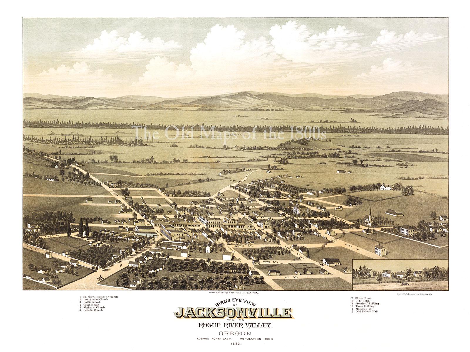Vintage Oregon Map.Jacksonville Oregon In 1883 Bird S Eye View Map Aerial Map