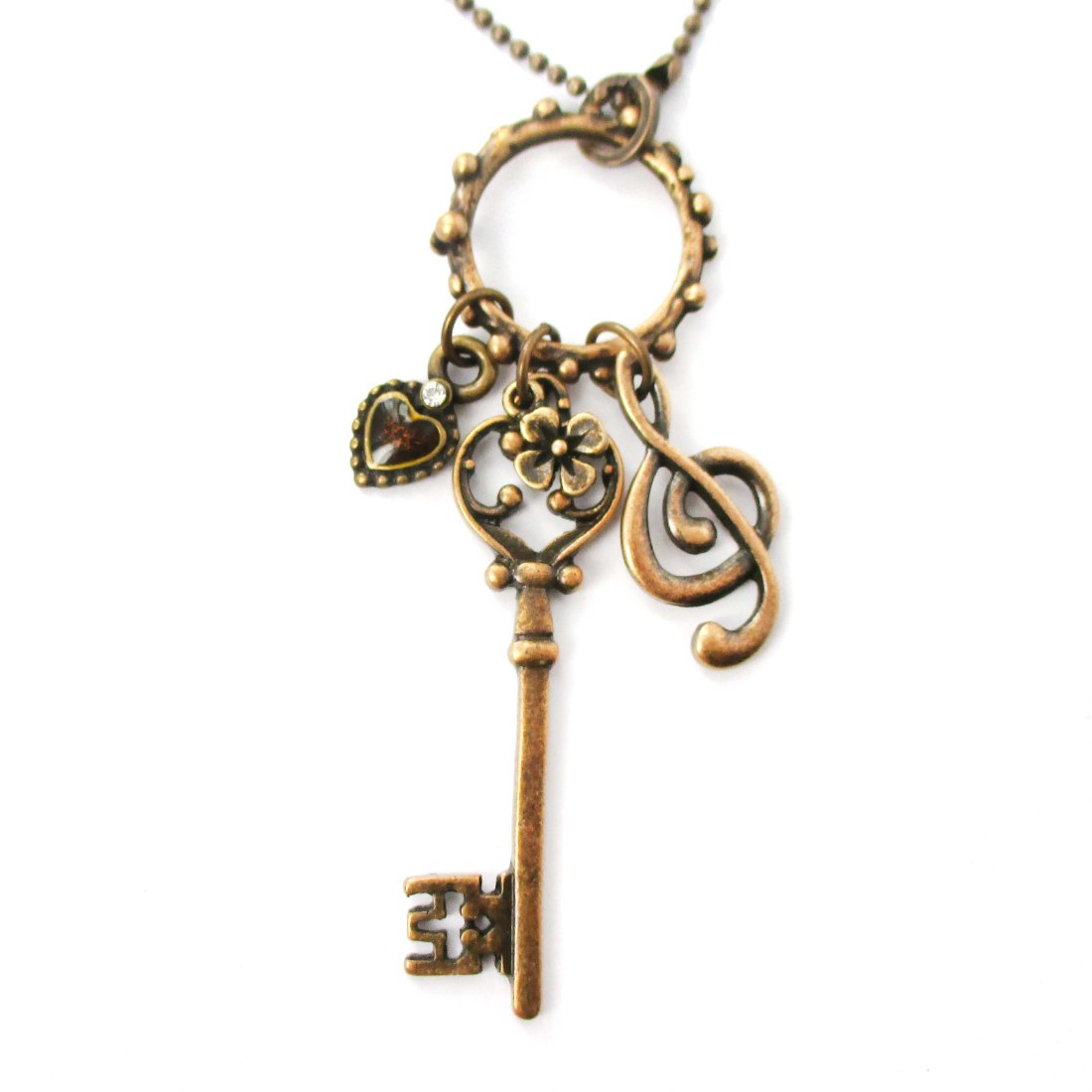 key jewelry store skeleton key and treble clef themed necklace in 7616