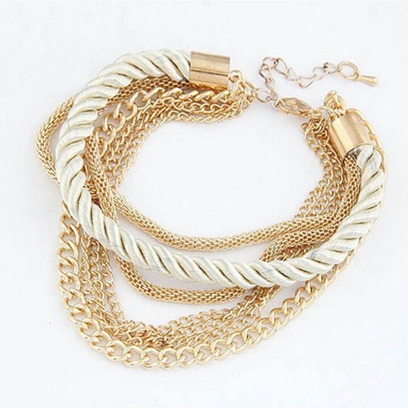 467ab396f1e25 gold tone snake chain red blue black green twist rope bracelet multi layer  6 strand white oneegyaru