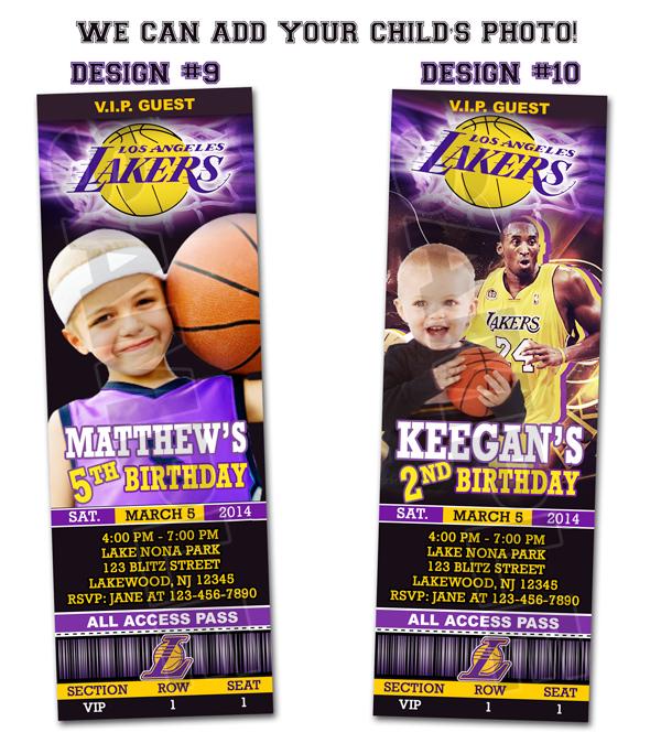 LA Lakers Ticket Birthday Party Invitations