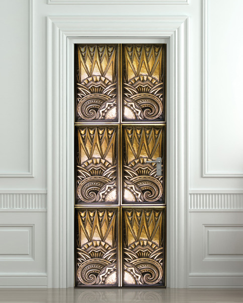 Door Sticker Elevator Bronze Sun Mural Decole Film Self