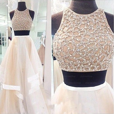 Light Champagne Prom Dressessexy 2 Piece Dresseshigh Low Tiered Skirt