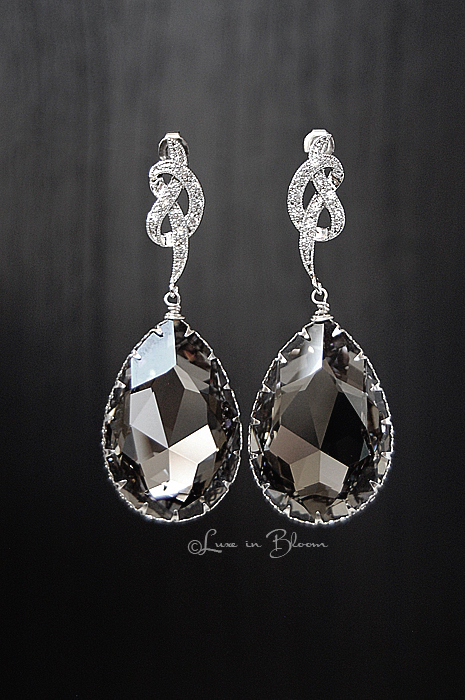 56885b61c7f64f Wedding Drop Earrings In Large Black Diamond Swarovski Crystal - Style    E159-BD