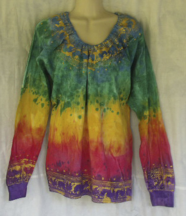 HAND CRAFTED RAINBOW COLOR WITH GOLDEN BORDER DESIGN PEASANT STYLE LONG  SLEEVE SHIRT
