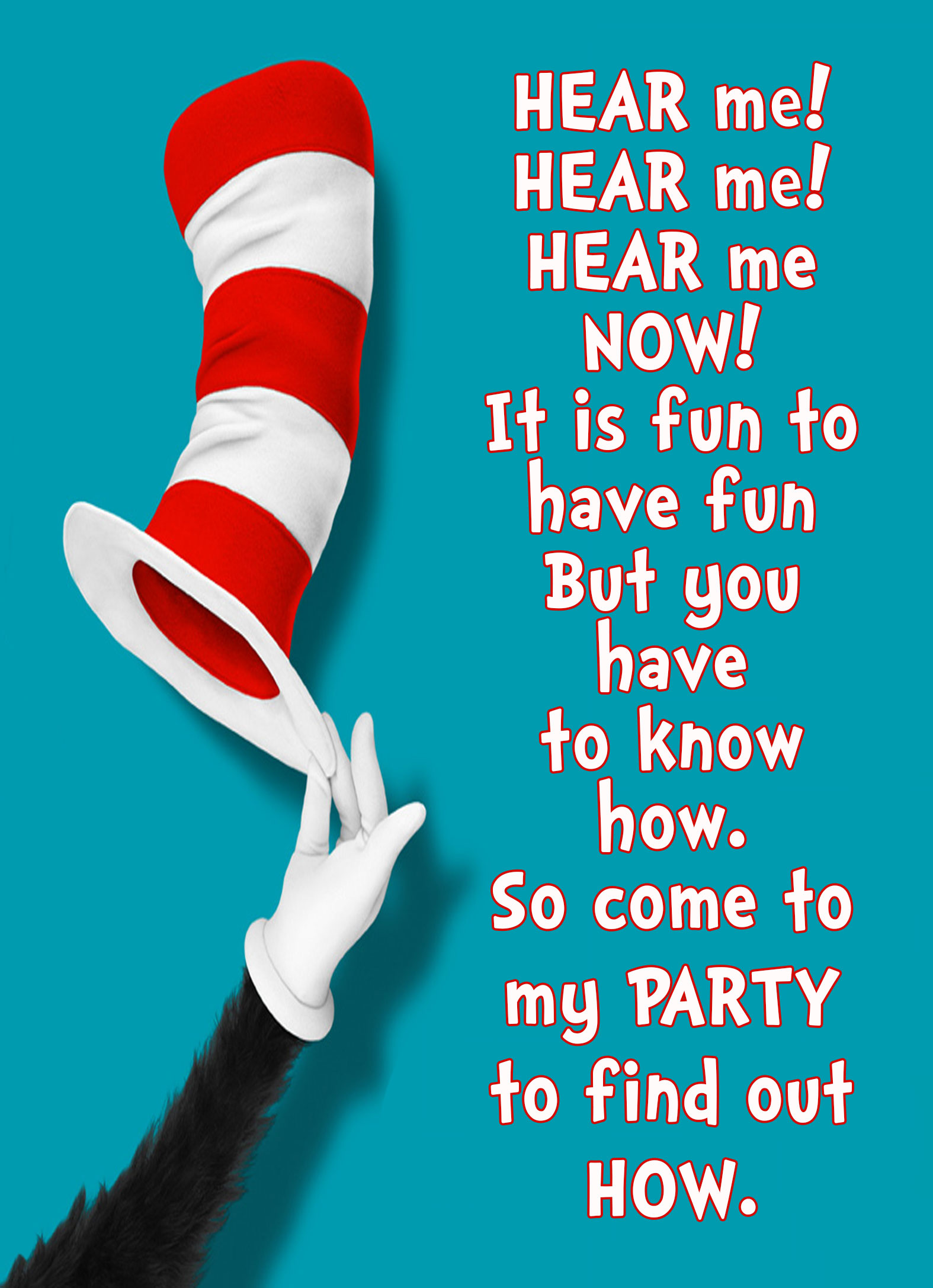 Cat in the Hat Personalized Birthday Invitation 2 Sided, Birthday Card, Party Invitation, ...