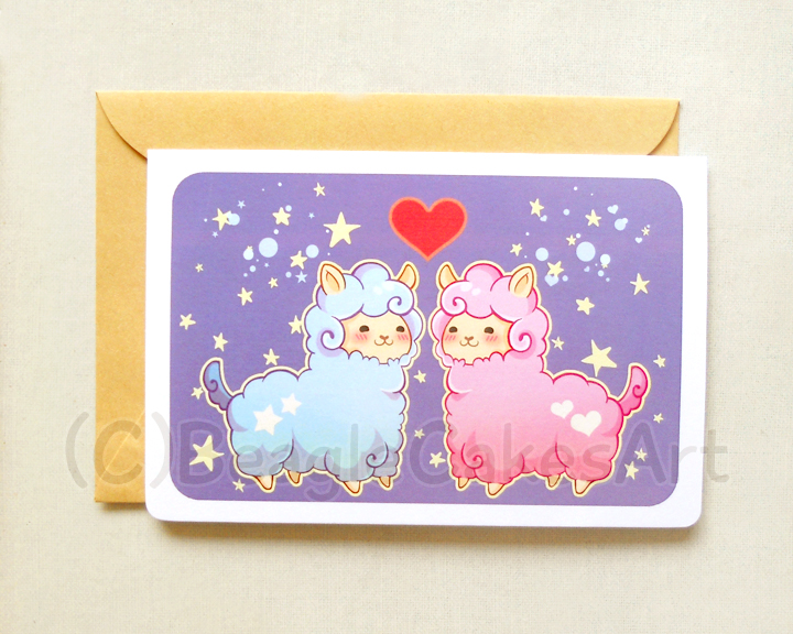 Alpaca Valentine Notecard Cute Llama Greeting Card Valentine S Day