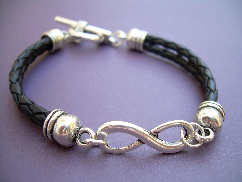 d8b5445cff198 Leather Bracelet, Infinity Bracelet, Black Braided, Unisex Bracelet,  Infinity, Mens Bracelet, Womens Bracelet, Mens Jewelry, Womens Jewelry from  Urban ...