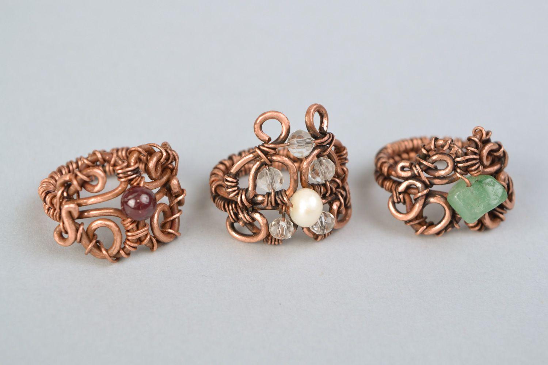Set of 3 handmade designer wire wrap copper rings on Storenvy