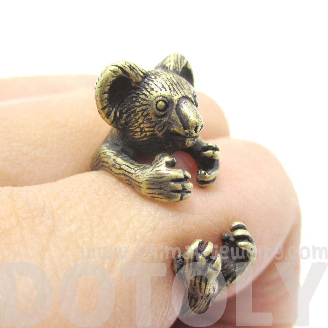 Bear In Hing Reng 2: Miniature Koala Bear Animal Wrap Ring In Brass