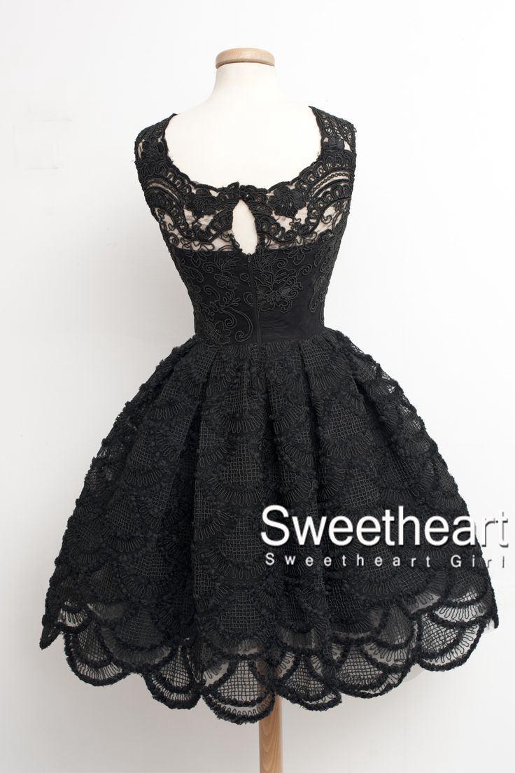 3ef222cf626e7 Sweetheart Girl | Black Lace Short Prom Dress,Homecoming Dresses ...