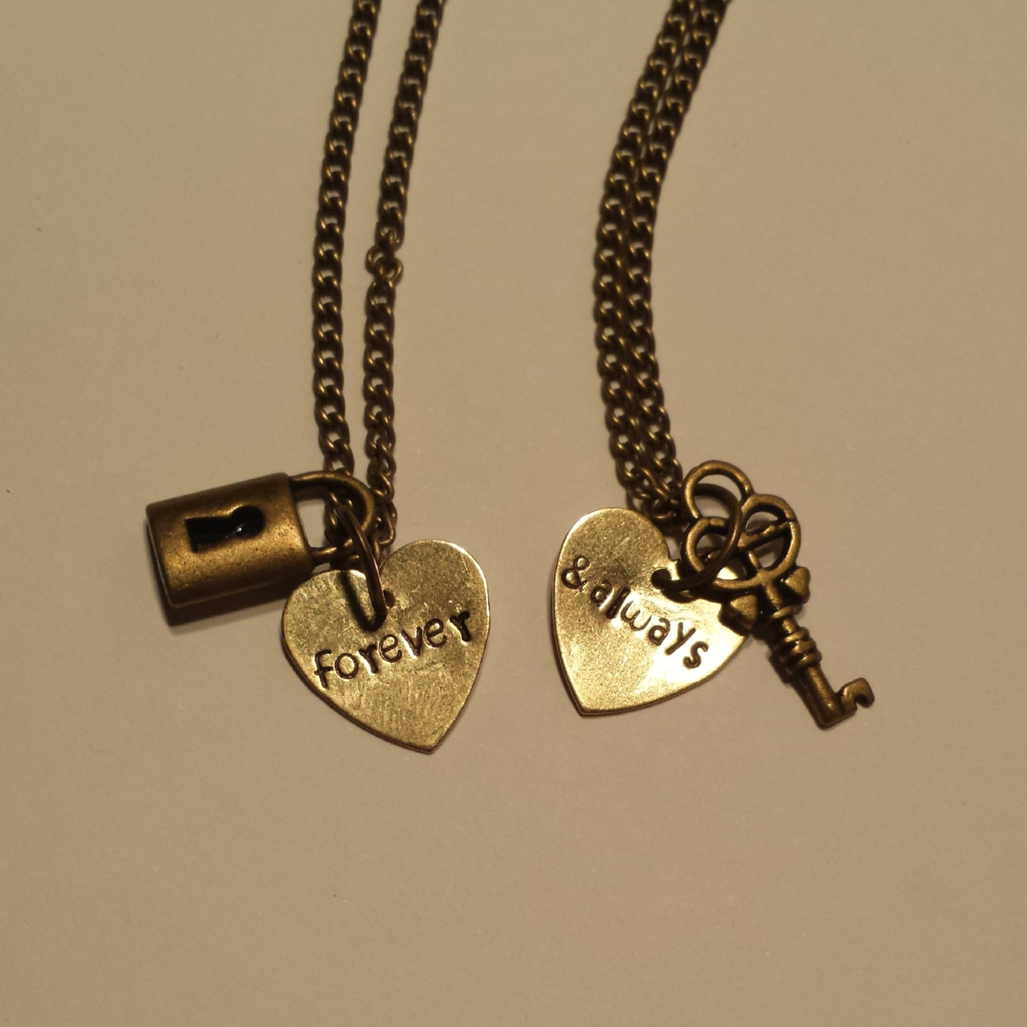 2e4826eee3 ... Couples Necklace Set with Lock and Key Charms - Couples Jewelry - Best  Friend Necklaces -