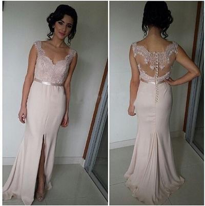 Pink Long Evening Elegant Dress