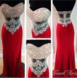 Formal Dress | Pretty Red A-line Sweetheart Rhinestone Long Prom ...