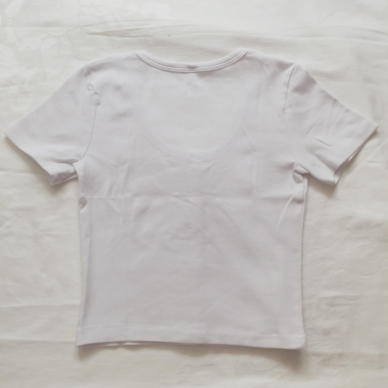 Short Sleeve Button Up Crop Top White Megoosta Fashion Free