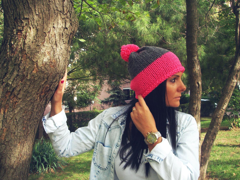 0c7420dfd39 Pom pom beanie hat Slouchy Beanie with Pompom Chunky knit pompom hat ...