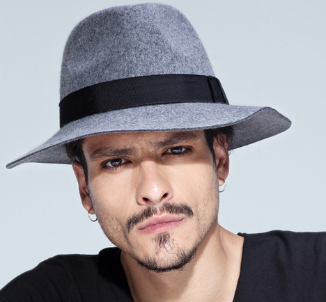 3bc4fa7d Grey/ Black Men's wool Hat Winter Autumn Floppy Hat--mh015 from  supergirlbeauty
