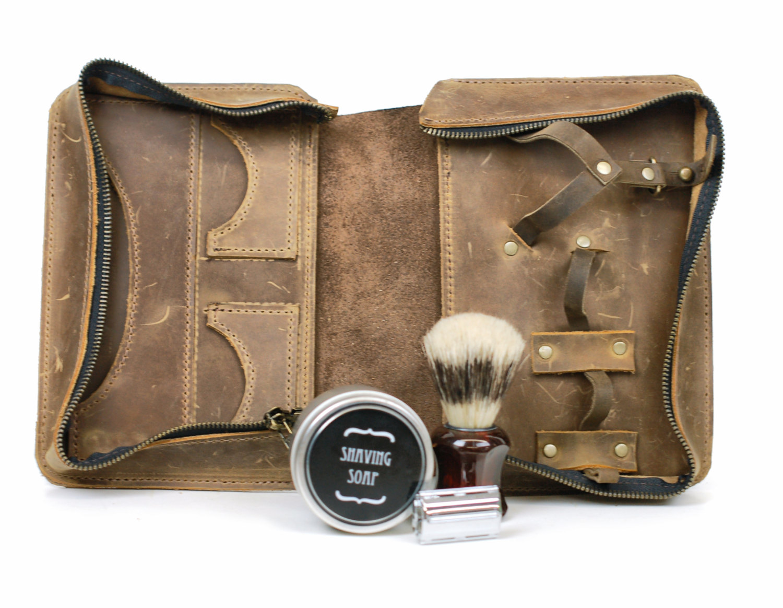 Men s Shaving Kit - Wet Shaving Toiletry Bag - Vintage Style Shaving ... 26d376dfde5c7