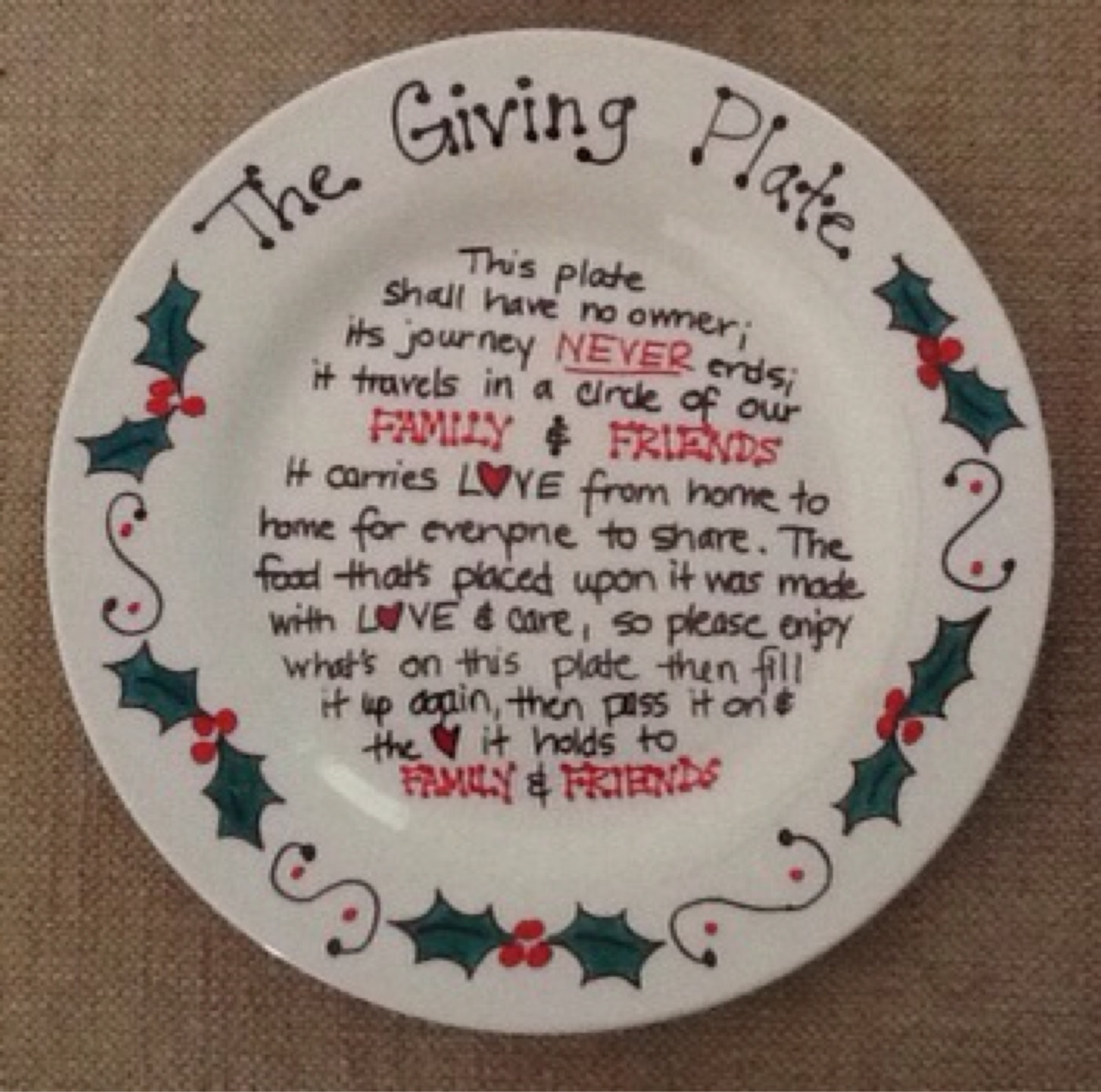 Christmas Plates.The Giving Plate Painted Ceramic Plate Christmas Plate