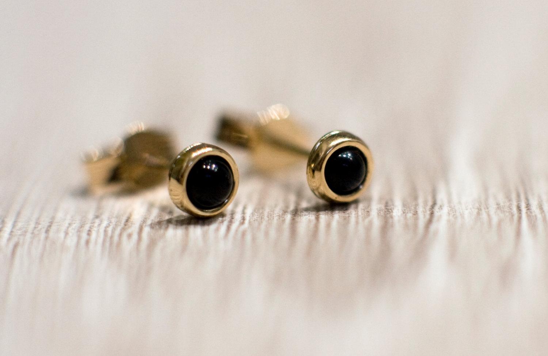 6b85b590d Black onyx stud earrings in 14k yellow gold, solid 14k gold jewelry, black  gemstone ...