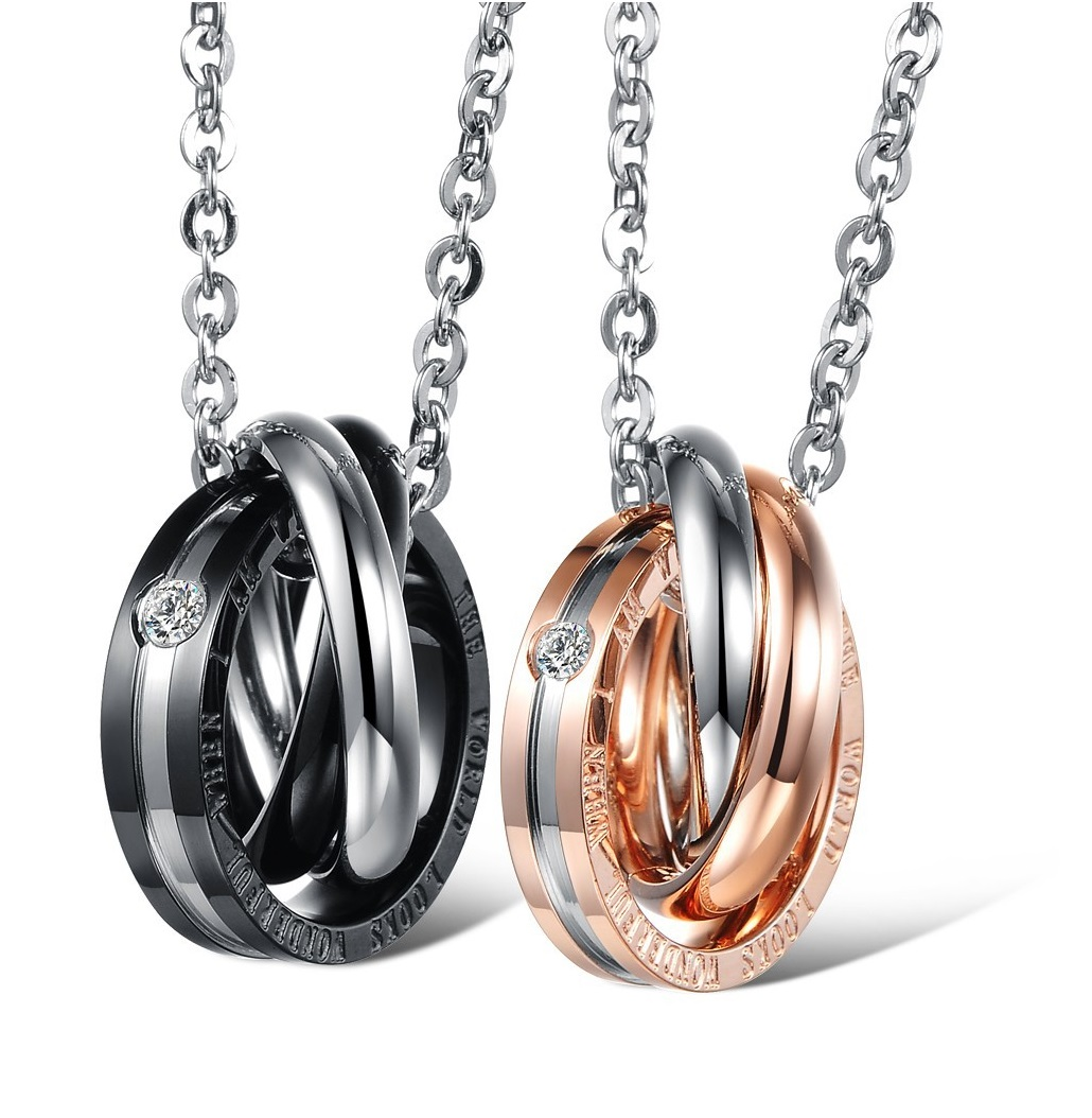 97533482a1 Matching Couple Necklace - Him & Her Triple Ring Band Couple Necklace Set;  Lovers Necklace