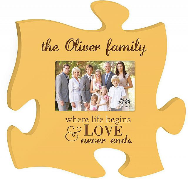 Yellow Laser Engraved Personalized Puzzle Piece Picture Frame On